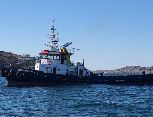 Επιχείρηση διάσωσης σκάφους από τη ναυτική εταιρεία ΠΕΡΣΕΥΣ ΣΥΡΟΥ