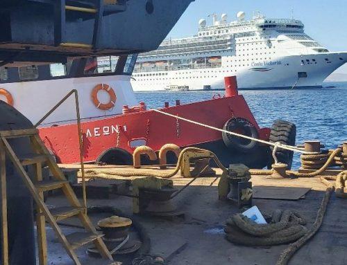Ανέλκυση άγκυρας πλοίου P/S COSTA VICTORIA στο λιμάνι της Μυκόνου (2019)